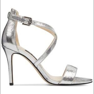 Nine West Mydebut Silver Crisscross Heels Sandals